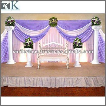 Wedding hall decoration with white background curtain for Background curtain decoration
