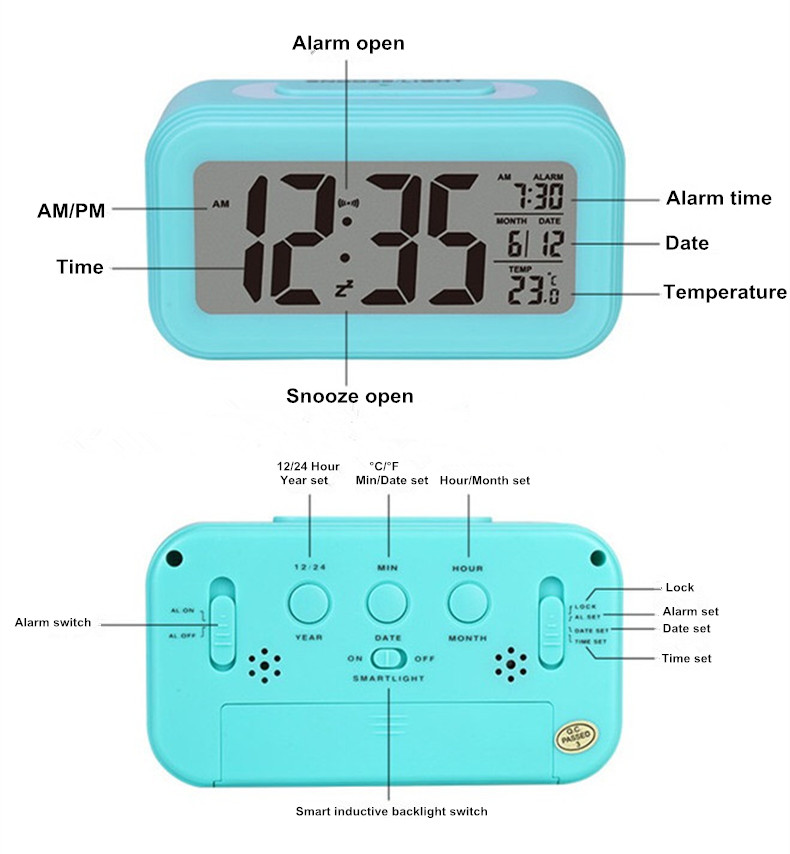 Panas Digital LED Alarm Clock Home Smart Jam Meja