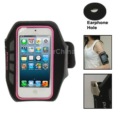 Бесплатная доставка браслет спорт чехол с наушников отверстие Key карман для iPhone 5 ( пурпурный )