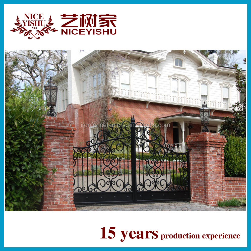 2016 latest cheap price simple house main gate design black color iron main gate grill