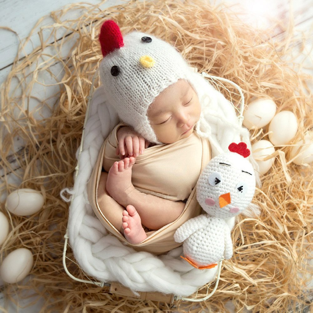 Makaor Baby Photo Props,Cute Newborn Baby Girl Boy Knit Hat + Chicken Photography Prop Photo (White, For baby about 0-3 months old)