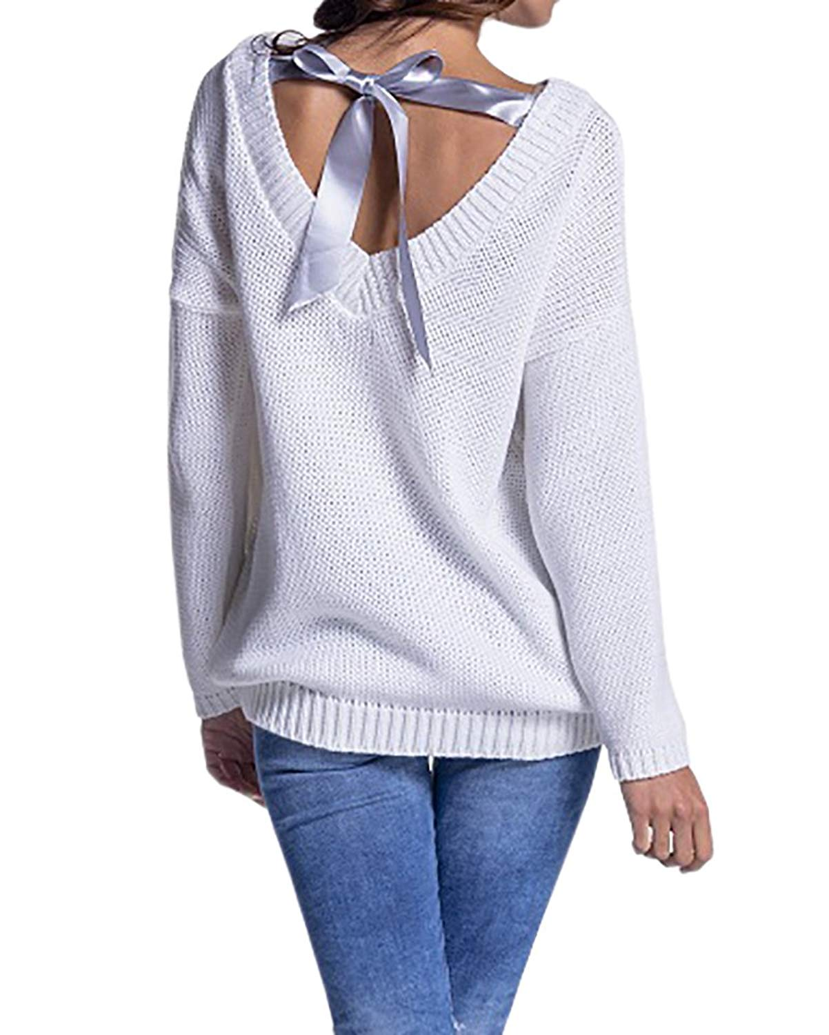 261c40d1c43d Buy EastLife Womens Pullover Sweaters Lace up Crew Neck Long Batwing ...