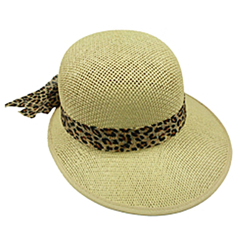 Silver Fever Women Summer Fancy Sun Hat Fits All (Mustard with Cheetah)