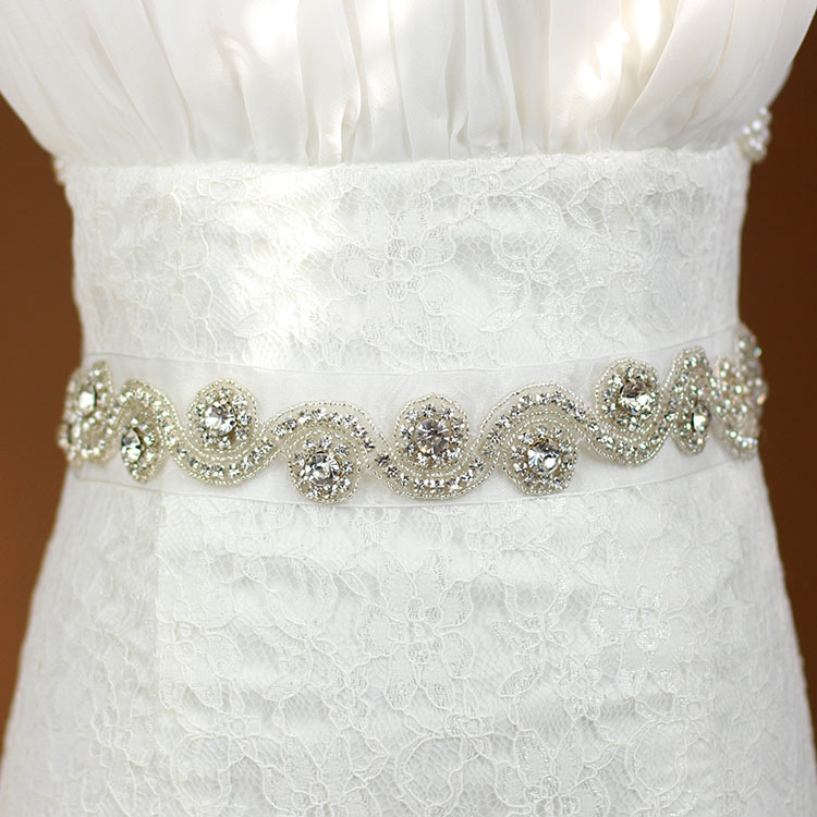 Wholesale Crystal Bridal Sash Wedding Dress Belt Crystal Rhinestone Pearl Applique Silver Beaded Patch Bridal Sash LSBS004