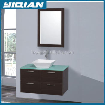Mirrored Black Bathroom Vanities Wall Hanging Toilet Cabinets With Glass Top