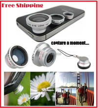 Magnetic 3 in1 Glass Fisheye Fish Eye Lens + Wide Angle + Macro Mobile Phone Lens Camera Lens for iPhone Samsung S4 Note