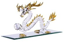 Elegant Spun-Glass Chinese Dragon With Gold Accents