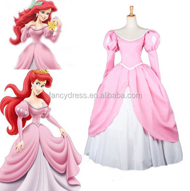 Rose-team Fantasia Anime Sexy Carnival Halloween Pink The Little Mermaid Princess Ariel Dress Costume Sexy Carnival Halloween Co
