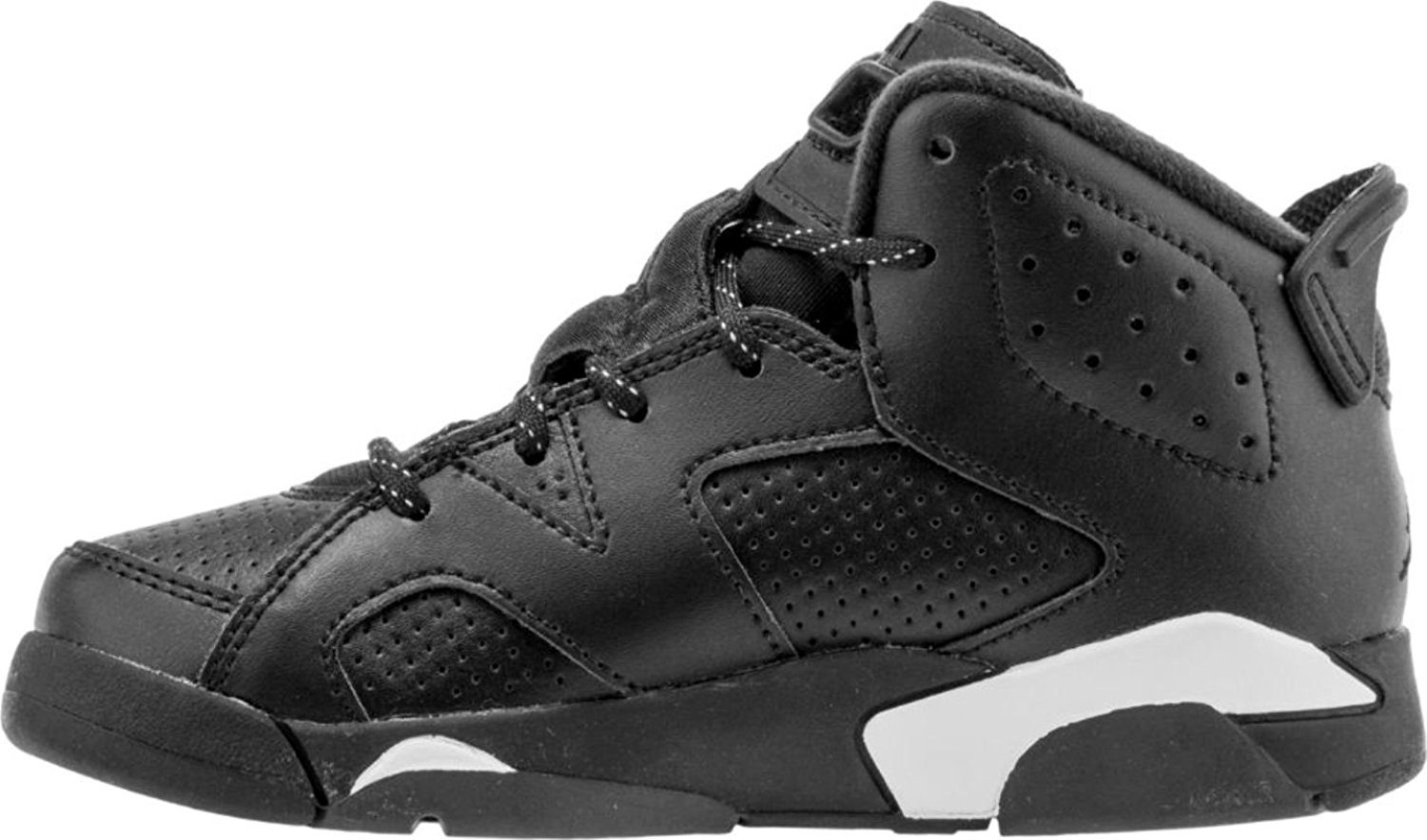 Nike Air Jordan 6 Retro Black Cat BP Preschool Kids Black White 384666-020 (1.5)