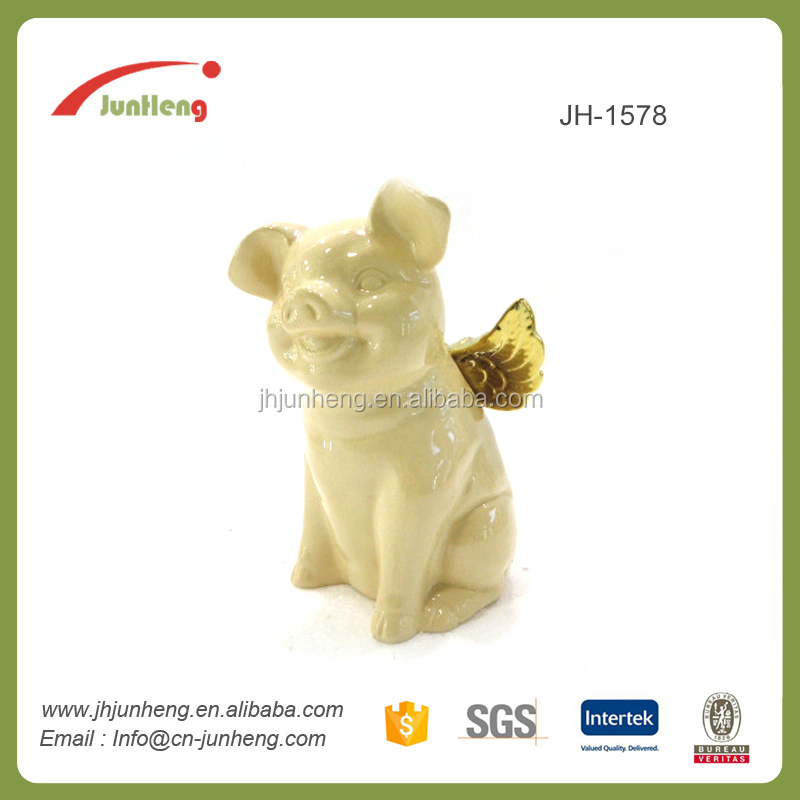 Garden porcelain white flying pig decoration ceramic ornaments