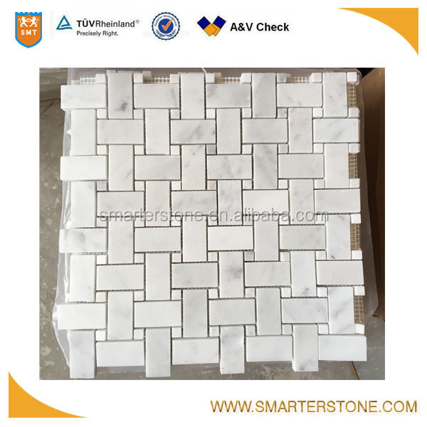 Carrara white basket weave mosaic tiles carrara for big bathroom