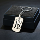 Silver Wholesale Metal Promotion 26 Capital Initial Letter A ~Z Alphabet Stainless Steel Pendant Key Chain Keychains