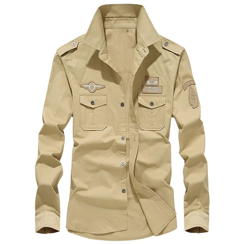 Farjing Clearance Sale!! Men's Shirts Mens Autumn Casual Military Cargo Slim Button Long Sleeve Shirt Top Blouse