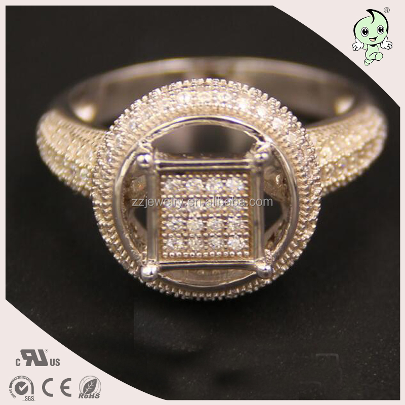 Micro Pave Round Shape With Square Shape Classical Popular Jewely 925 Sterling Silver Ring