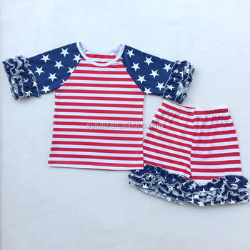aecff7b5897 July 4th clothes icing stars and stripes summer t-shirts shorts baby girl  clothing