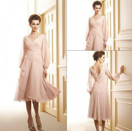 2016 Mother Of The Bride Groom Dresses With Long Sleeves V