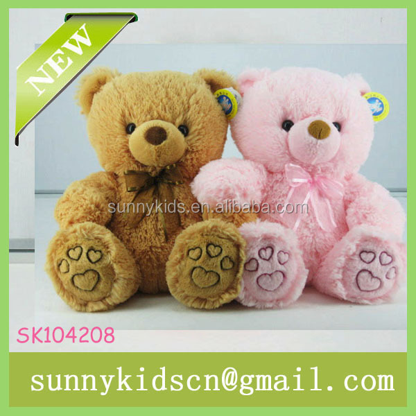 2014 HOT selling plush pink bear customized stuffed toy stuffed color animal baby toys manufacturer soft plush bear