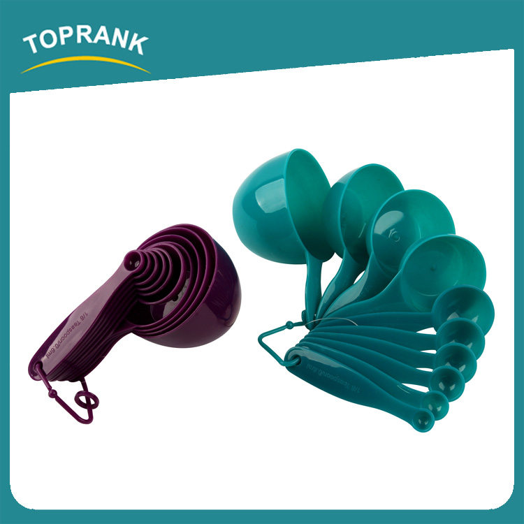 Toprank High Quality Kitchen Usage Plastic Measuring Scoops 10pcs Plastic Measuring Cup And Spoon Set With Grips