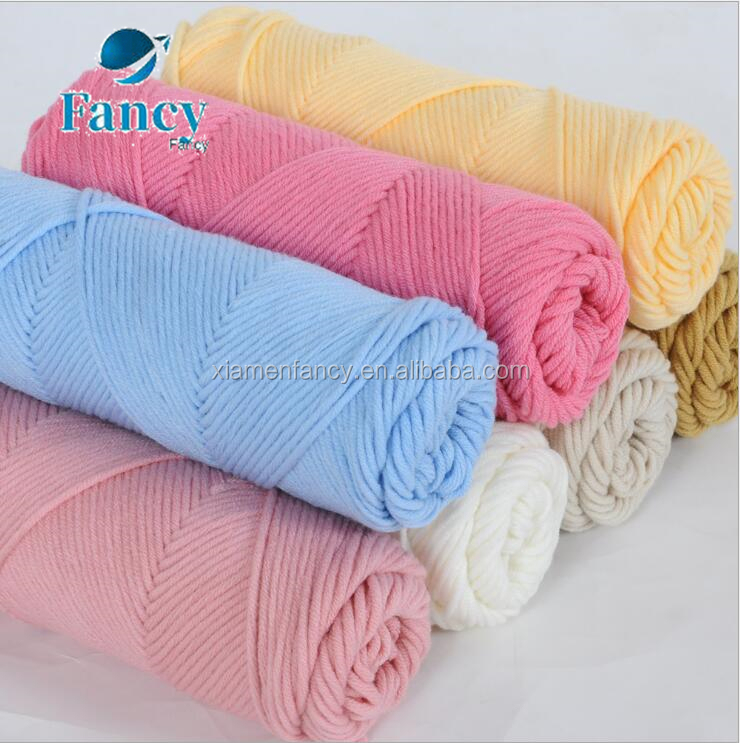 High quality 100g/roll milk cotton yarn Open end 100% cotton crochet yarn different colors available 8ply for scarf