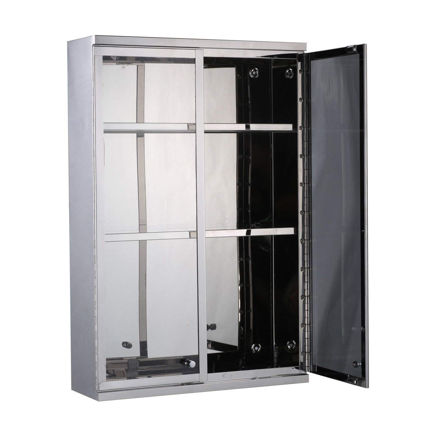 New Silver, Modern Wall Mount Storage Cabinet Bathroom Stainless Steel w/Shelves