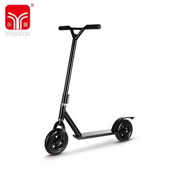 Black 200MM Inflatable Rubber Wheel Stunt Scooter, Children Stunt Scooter With PVC Handle