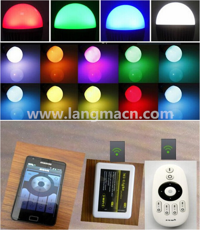 9 Watt Color Changing Led Light Bulb With Remote Control Multi ...