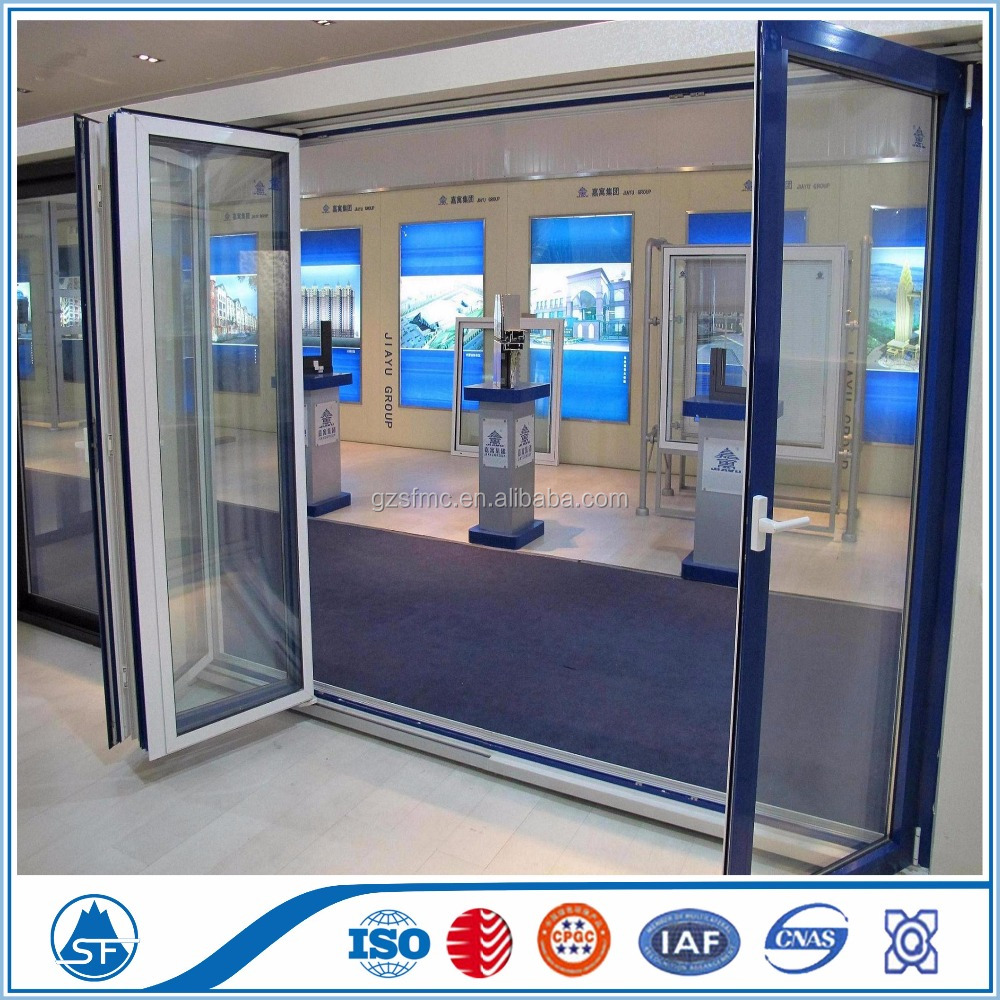 Intex Swimming Pools Double Frosted Tempered Glass Aluminium Folding Doors for Hot Sale