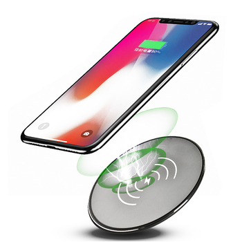 Newest design smart phone fast charging round metal 10W thin universal wireless charger