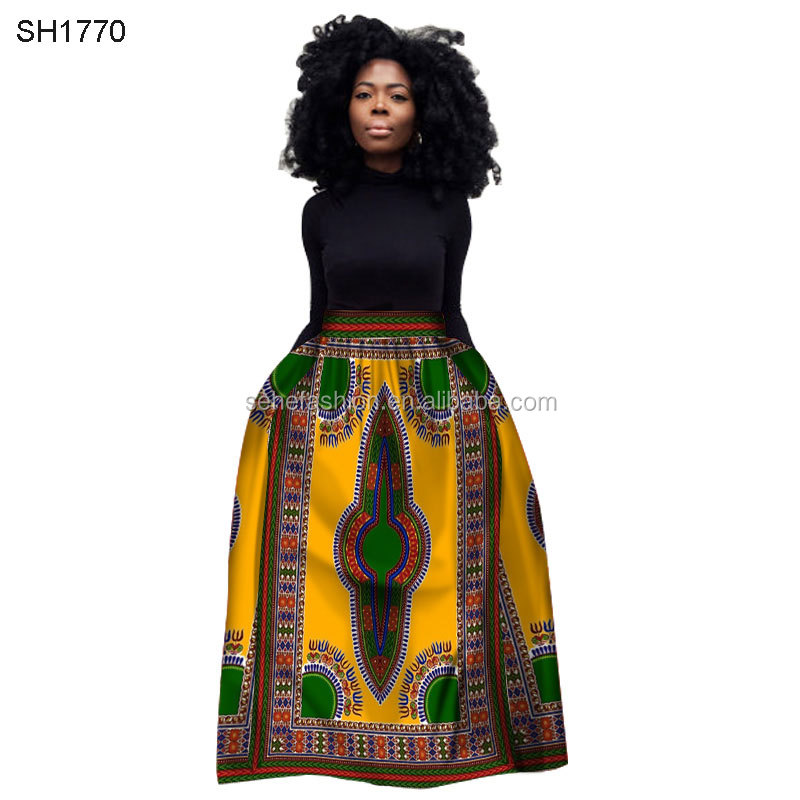 12 color wholesale real cotton wax textile African tradition pattern dashiki maxi dress