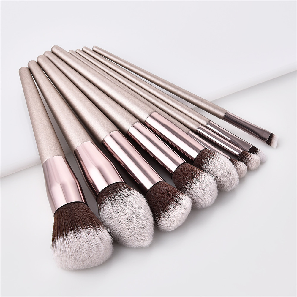 10 stuks cosmetische make up brush Champagne kleur make-up kwasten set
