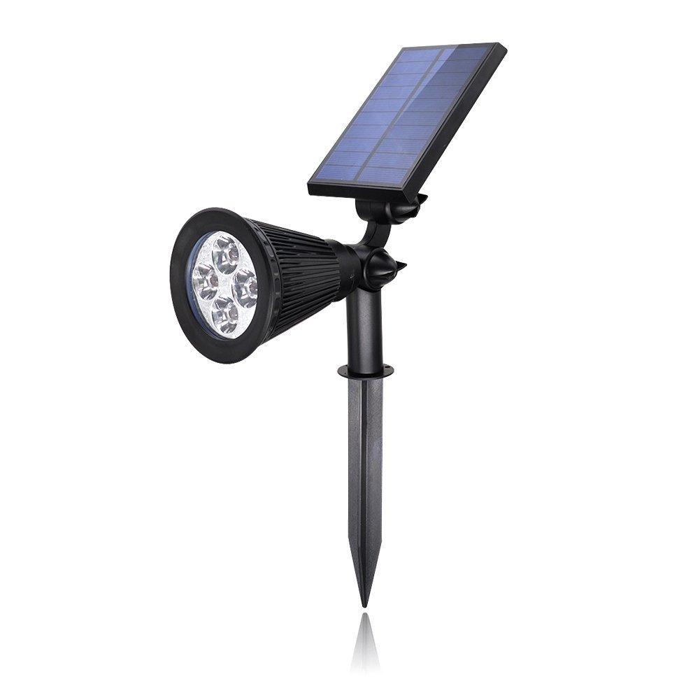 Solar Light,SHZONS 2-in-1 IP44 Waterproof 4 LED Solar Spotlight Adjustable Wall Light Landscape Light Security Lighting Dark Sensing Auto On/Off for Patio Deck Yard Garden Driveway