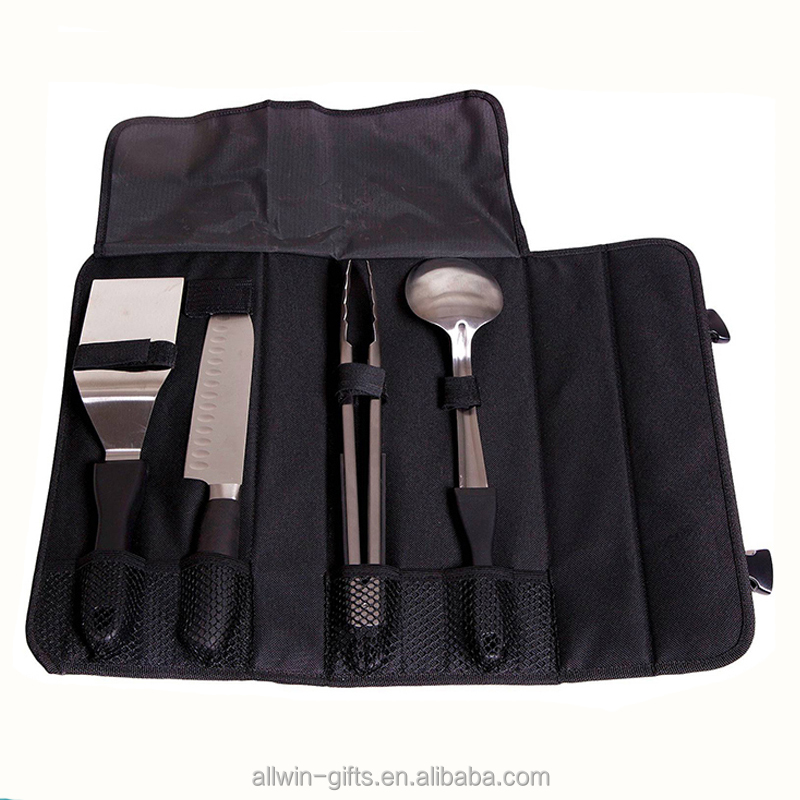 Kitchen Knife Storage Carry Case Roll Black Chef Set Bag With Handle
