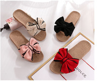 Classic stylish bow design women's summer comfortable breathable linen slippers