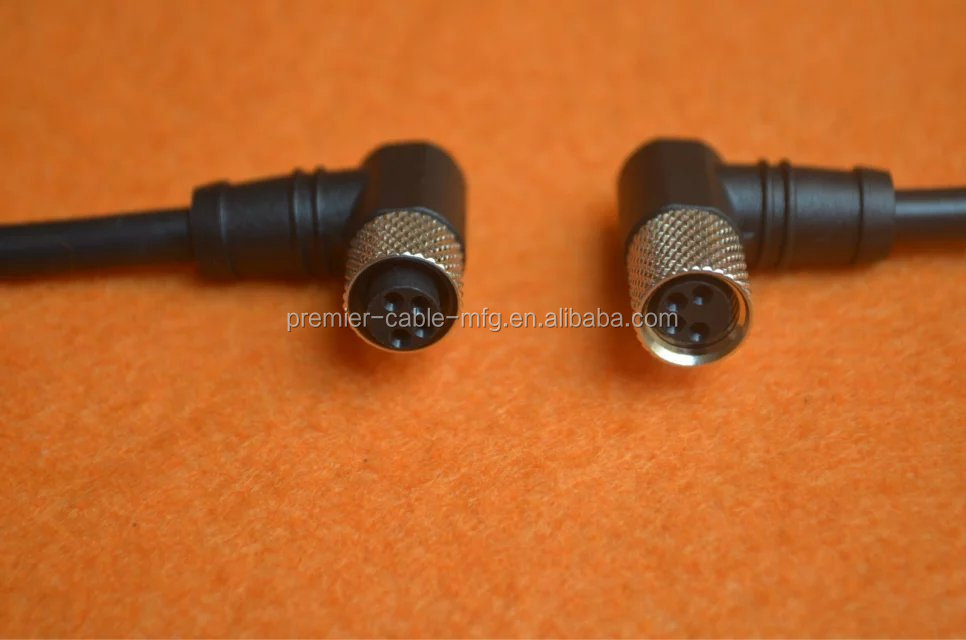 M12 8pin M8 4pin 90 Degree Cable Connector Straight Cable