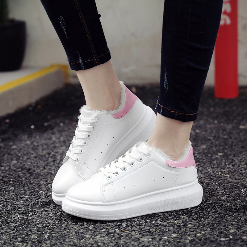 gugutree women plain white warm winter casual shoes with fur teenager girls casual winter boots and shoes