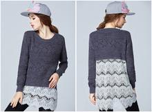 On sale 2015 fashion design plus size women lace pullover big size 4xl women autumn font