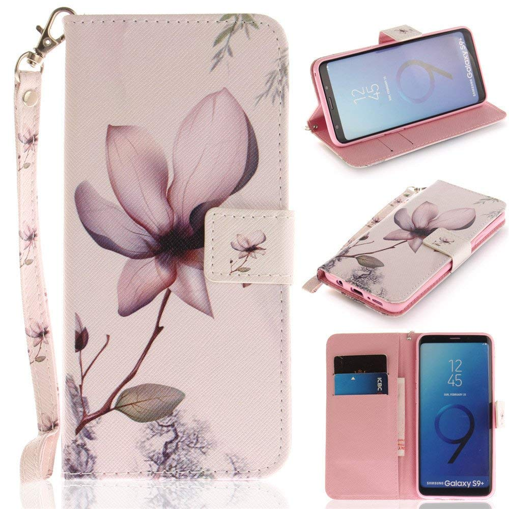 Galaxy S9 Plus Case,XYX [Magnolia Flower][Wrist Strap][Kickstand][Card Slots] Premium PU Leather Phone Wallet Case for Samsung Galaxy S9 Plus / S9+