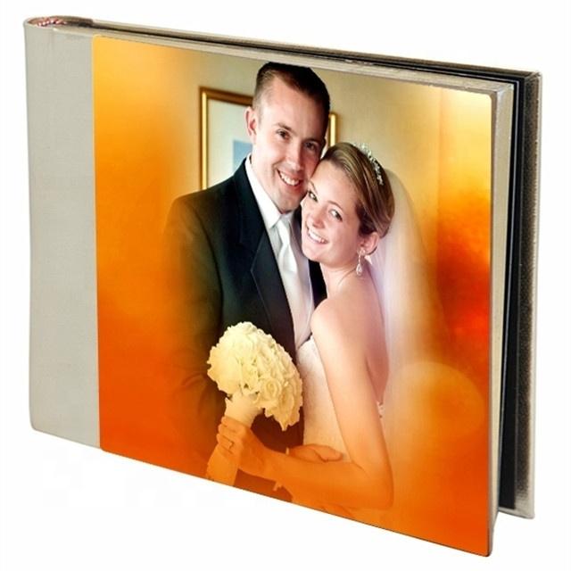 Grau superior de alta qualidade cheia de acrílico da foto da capa do álbum de casamento