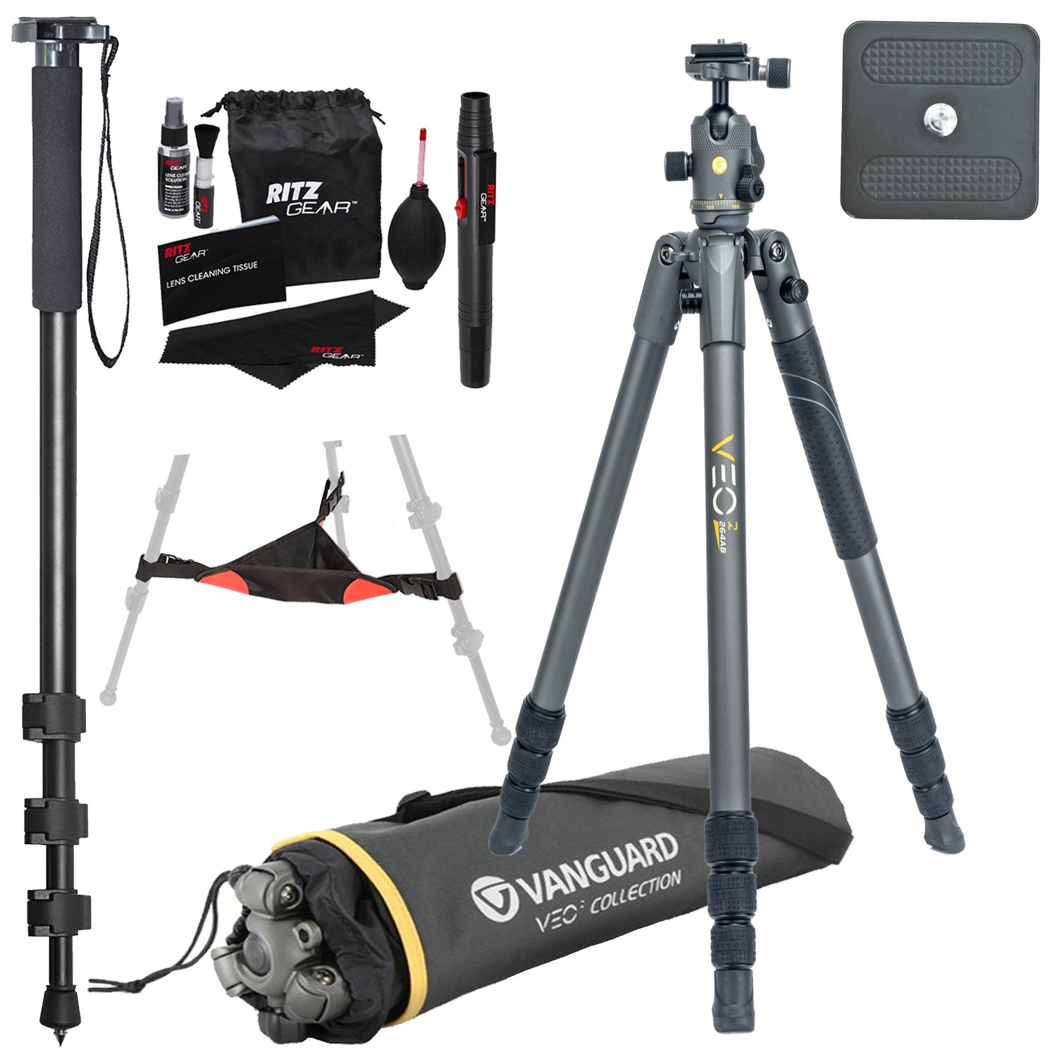 Vanguard VEO 2 264AB Aluminum Tripod with VEO 2 BH-50 Ball Head, Ritz Gear Tripod Stone Bag, 72-Inch Monopod with Quick Release and Ritz Gear Cleaning Kit