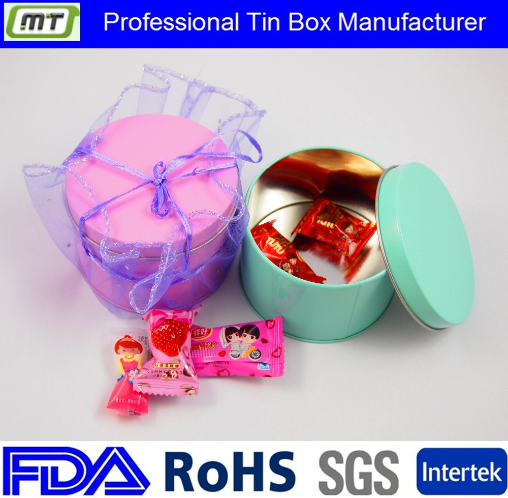 round candy tin box with colourful printing
