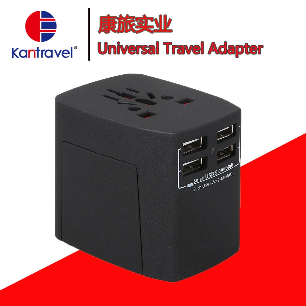 Travel Adapter, 4USB Worldwide All in One Universal Power Converters socket