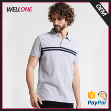 OEM service free designer 100% pique cotton stripes printing custom embroidery logo men grey polo t shirt