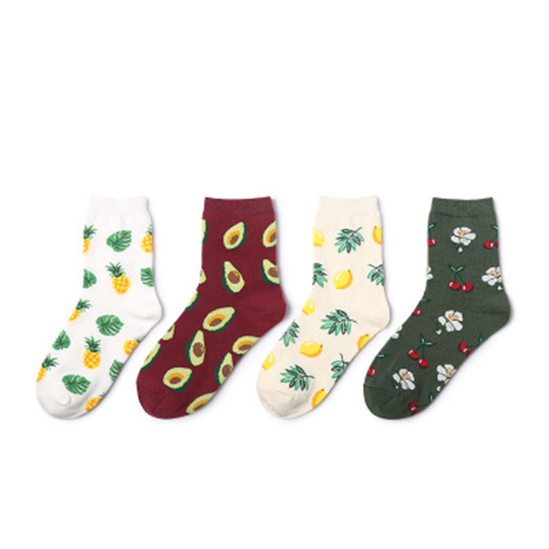 Wholesale Fruit Print Hot Design CottonTeen Young Girl Tube Socks