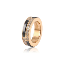 New Innovative Products Gold Plated Unisex Black and White Color Ceramic Ring