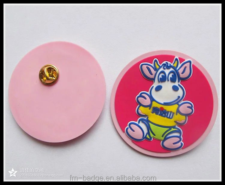 2016 hot promotion high quality customized design cute flexible rubber pvc 2d 3d embossed pin badge,cartoon pink pvc pin badge