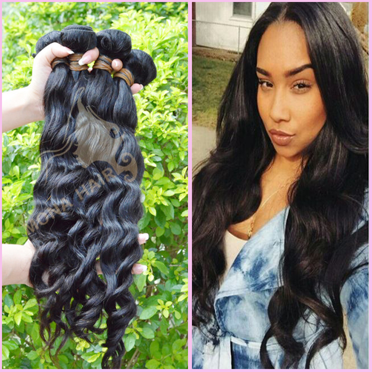 Good quality can get wet and restlyed celebrity wavy hair extension suppliers china