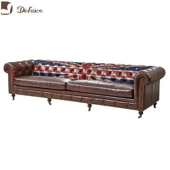 Vintage Leather Union Jack Chesterfield Furniture Sofa Antique For Living Room Hotel Club