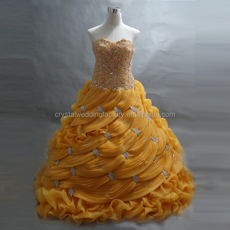 Hot sale beaded appliqued cheap wholesale real 2015 puffy ball gown gold yellow prom dresses CWFpp2127