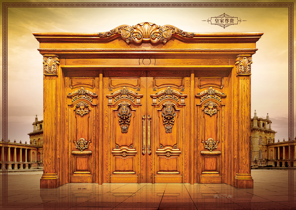 Main door design solid teak wood door buy solid teak for Main entrance double door design