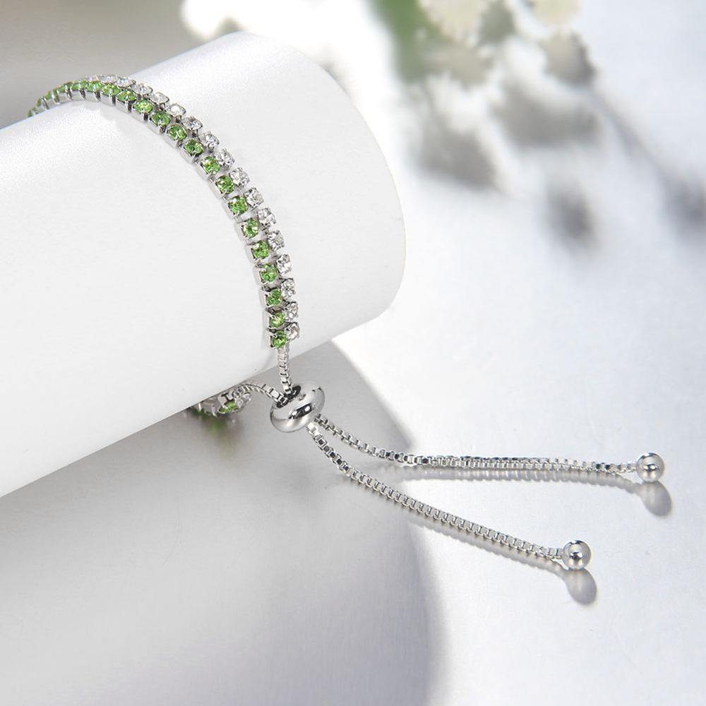 Wholeslae Jewelry Adjustable Silver Chain Cubic Zirconia Diamond Tennis Bracelet For Women